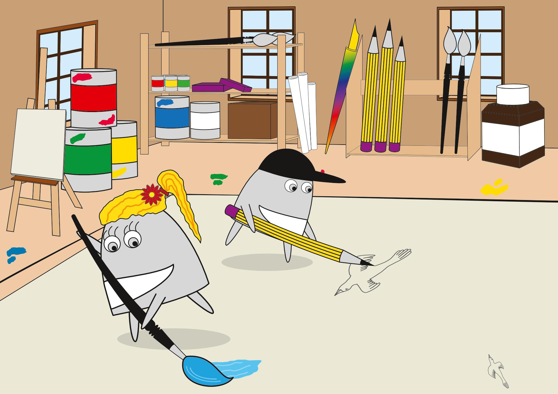 Das Künstlerpärchen Pedro und Rosa, die Cartoon Illustrationen von Stephan Böhm, bei der Arbeit in ihrem Atelier