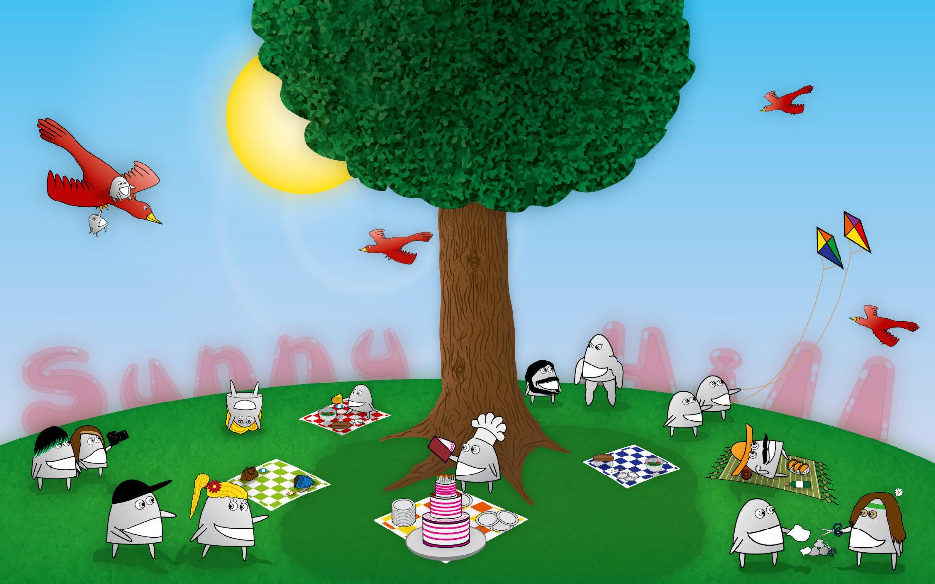 Teacup Creatures, die Cartoon Illustrationen von Stephan Böhm, spielen auf einem sonnigen Hügel